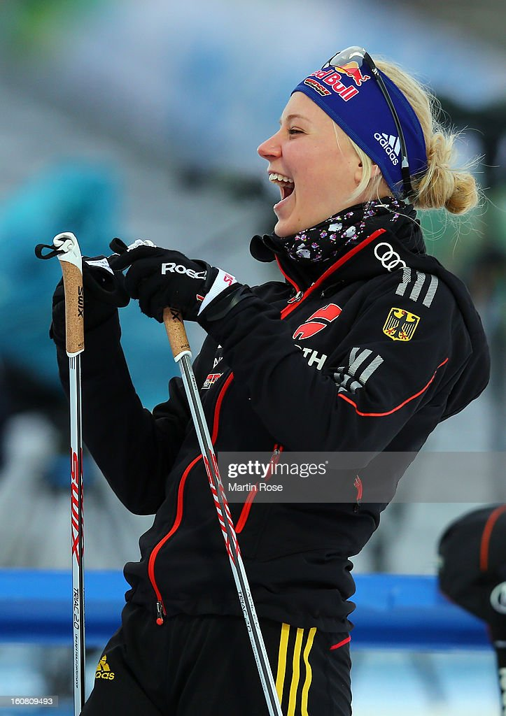 Miriam Goessner of Germany looks during an offical training session at Vysocina Arena on February 6, 2013 in Nove Mesto na Morave, Czech Republic.