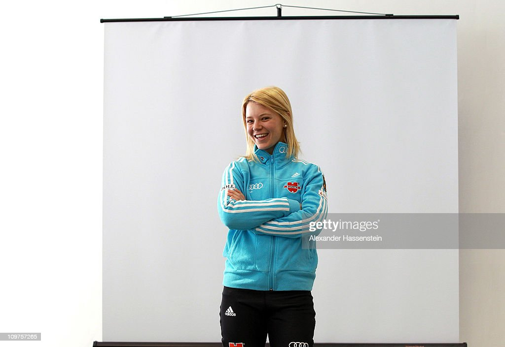 Miriam Goessner of Germany poses after a press conference during the IBU Biathlon World Championships at A.V. Philipenko winter sports centre on March 4, 2011 in Khanty-Mansiysk, Russia.