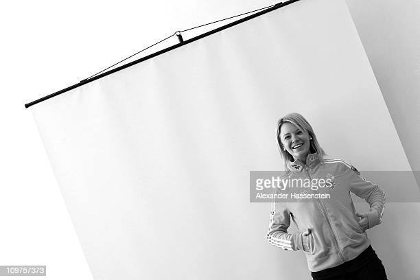 Miriam Goessner of Germany poses after a press conference during the IBU Biathlon World Championships at AV Philipenko winter sports centre on March...