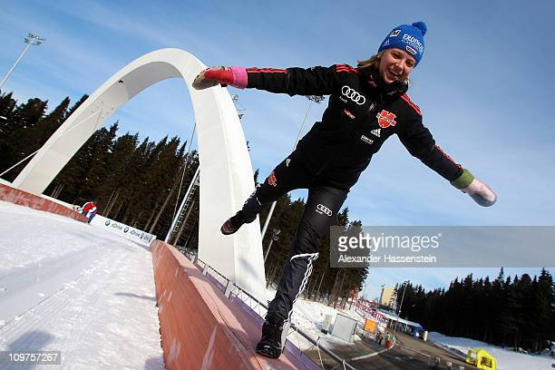 Miriam Goessner of Germany poses at the race track after a press conference during the IBU Biathlon World Championships at AV Philipenko winter...