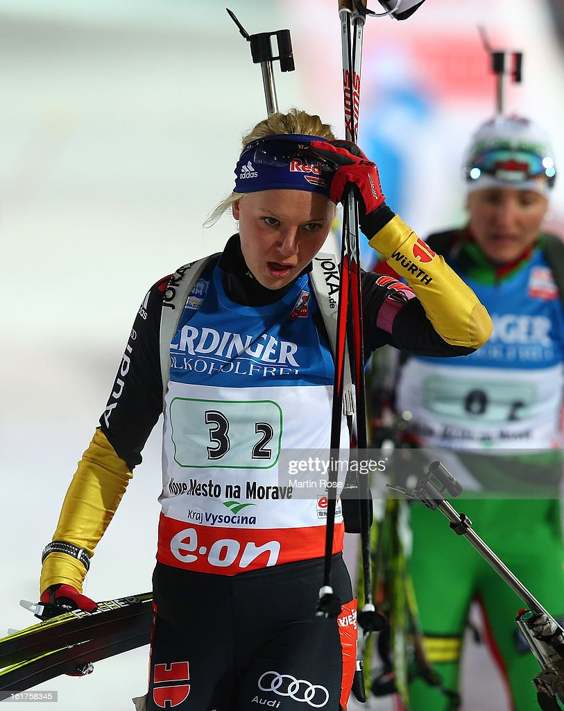 Miriam Goessner of Germany reacts in the Women's 4 x 6km Relay in the IBU Biathlon World Championships at Vysocina Arena on February 15, 2013 in Nove Mesto na Morave, Czech Republic.