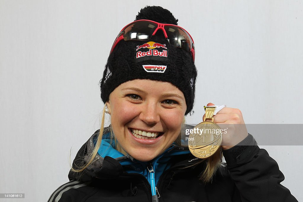 Miriam Goessner of Germany shows her medal of the Women's 4 x 6km Relay during the IBU Biathlon World Championships at Chiemgau Arena on March 10, 2012 in Ruhpolding, Germany.