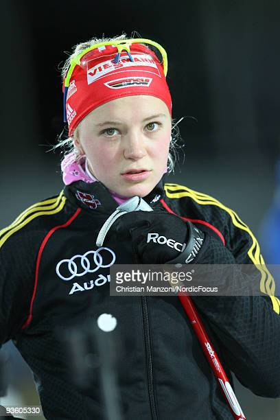 Miriam Goessner of Germany waits for zeroing for the Women's 15 km Individual event of the EON Ruhrgas IBU Biathlon World Cup on December 2 2009 in...