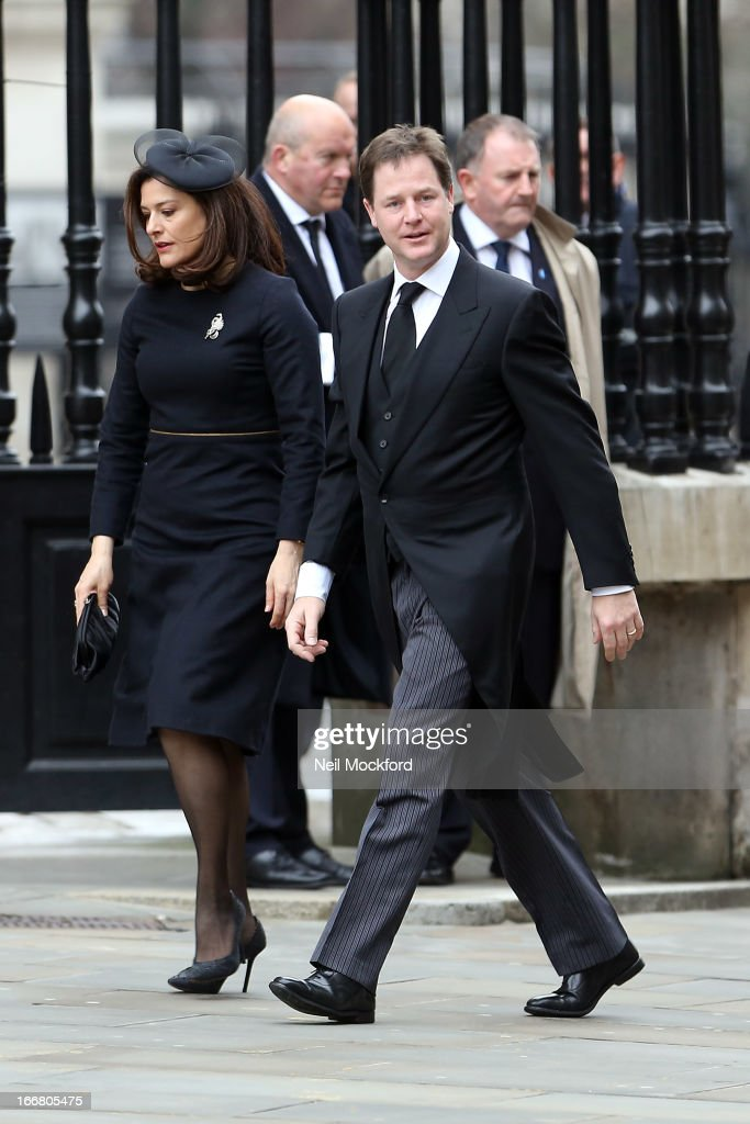 Miriam Gonzalez Durantez and Nick Clegg seen attending Baroness Thatcher's Funeral at St Paul's Cathedral on April 17, 2013 in London, England.