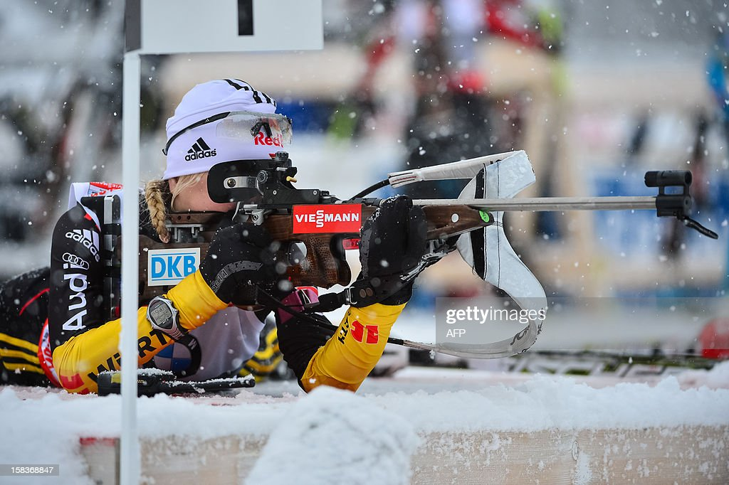Miriam Gossner of Germany aims during the 7.5 km women's sprint event at the IBU World Cup Biathlon in Pokljuka on December 14, 2012.