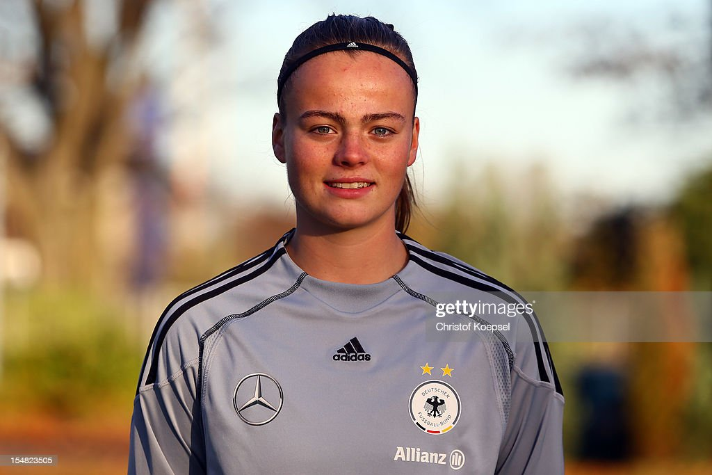 Miriam Hanemann poses during the Germany Women's U17 team presentation at Sport School Wedau on October 27, 2012 in Duisburg, Germany.