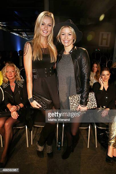Miriam Hoeller and Annica Hansen attend the Maison Anoufa fashion show during Platform Fashion Dusseldorf on February 2 2014 in Dusseldorf Germany