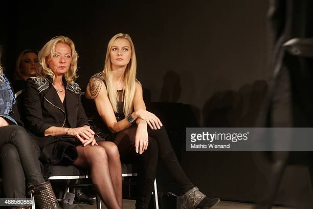 Miriam Hoeller and her mother attends for the Barbara Schwarzer fashion show during Platform Fashion Dusseldorf on February 2 2014 in Dusseldorf...