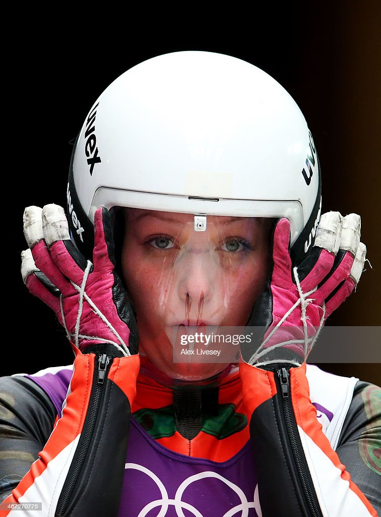 Miriam Kastlunger of Austria looks on prior to a Women's luge run during a training session ahead of the Sochi 2014 Winter Olympics at the Sanki Sliding Center on February 6, 2014 in Sochi, Russia.