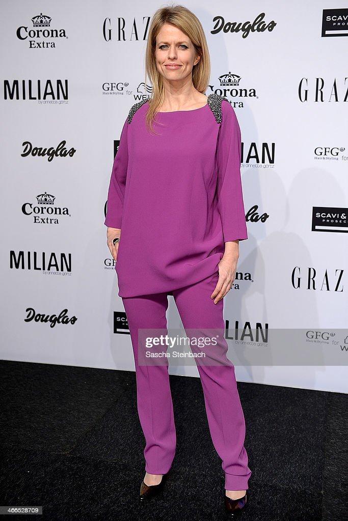 Miriam Lahnstein attends the Milian by Annette Goertz show during Platform Fashion Dusseldorf on February 1, 2014 in Dusseldorf, Germany.