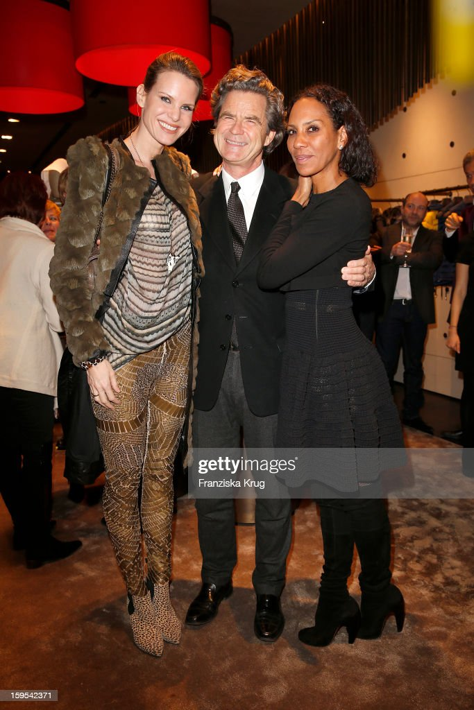 Miriam Langenscheidt, Florian Langenscheidt and Barbara Becker attend the 'Peuterey Cocktail Party' at Peuterey flagship store Kurfuerstendamm on January 15, 2013 in Berlin, Germany.