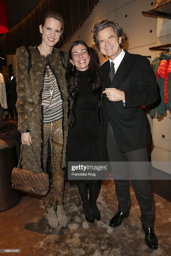Miriam Langenscheidt, Francesca Lusini and Florian Langenscheidt attend the 'Peuterey Cocktail Party' at Peuterey flagship store Kurfuerstendamm on January 15, 2013 in Berlin, Germany.