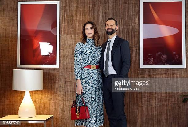 Miriam Leone and Fabio Volo attend a photocall for 'Un Paese Quasi Perfetto' on March 18 2016 in Rome Italy