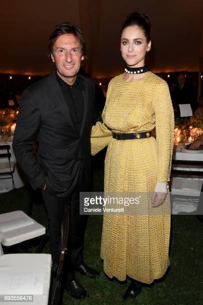 Miriam Leone and Pietro Beccari attend McKim Medal Gala at Villa Aurelia on June 7 2017 in Rome Italy
