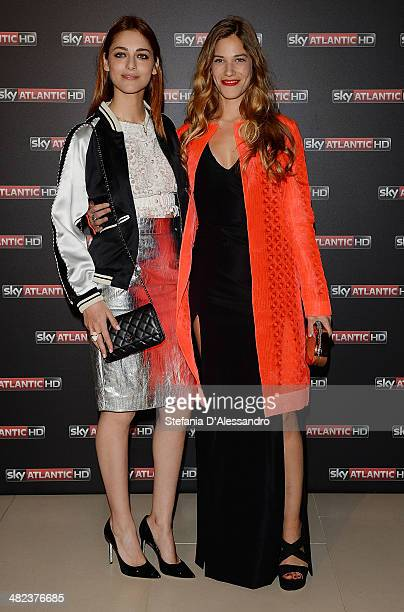 Miriam Leone and Tea Falco attend the 'Game Of Thrones' premiere on April 3 2014 in Milan Italy