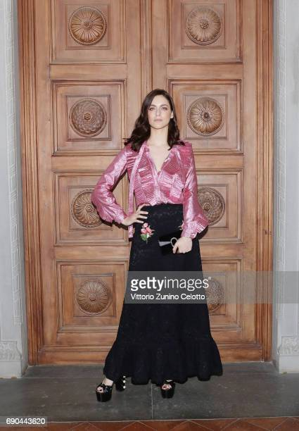 Miriam Leone arrives at the Gucci Cruise 2018 fashion show at Palazzo Pitti on May 29 2017 in Florence Italy