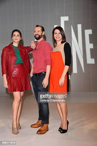 Miriam Leone Fabio Volo and Geppi Cucciari attend 'Le Iene' Tv Show photocall held at Mediaset Studios on January 23 2016 in Milan Italy