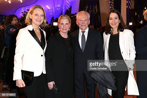 Miriam Meckel Ruediger Grube CEO of Die Bahn and his wife Cornelia Poletto and Anne Will during the opening concert of the Elbphilharmonie concert...