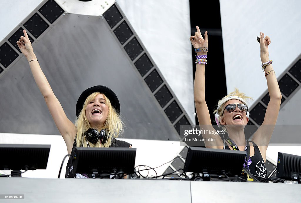 Miriam Nervo (L) and Olivia Nervo of Nervo perform at the Ultra Music Festival on March 24, 2013 in Miami, Florida.