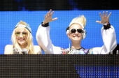 Miriam Nervo and Olivia Nervo of Nervo perform during the Ultra Music Festival at Bayfront Park Amphitheater on March 30 2014 in Miami Florida