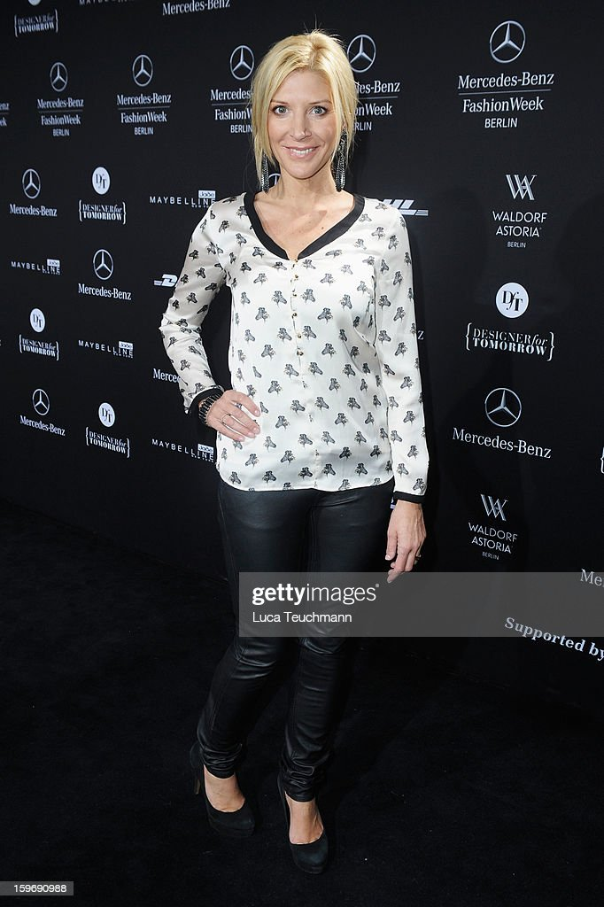 Miriam Pede attends Miranda Konstantinidou Autumn/Winter 2013/14 fashion show during Mercedes-Benz Fashion Week Berlin at Brandenburg Gate on January 18, 2013 in Berlin, Germany.