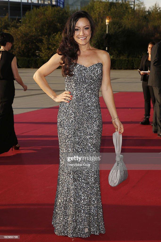 Miriam Pielhau attends the Deutscher Fernsehpreis 2013 - Red Carpet Arrivals at Coloneum on October 02, 2013 in Cologne, Germany.