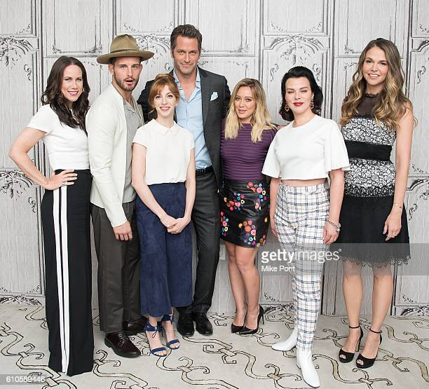 Miriam Shor Nico Tortorella Molly Bernard Peter Hermann Hilary Duff Debi Mazar and Sutton Foster attend the Build Series to discuss 'Younger' at AOL...