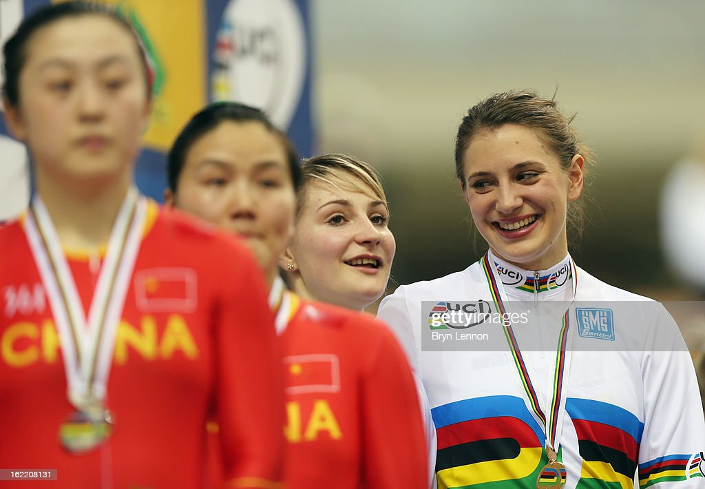 Miriam Welte (l)and Kristiana Vogel of Germany stand on the podium for the Women's Team Sprint during day one of the UCI Track World Championships at the Minsk Arena on February 20, 2013 in Minsk, Belarus.