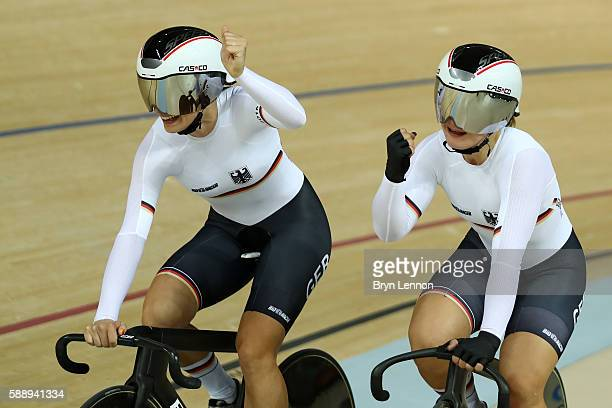 Miriam Welte and Kristina Vogel of Team Germany celebrates winning the bronze medal after the Women's Team Sprint final for bronze on Day 7 of the...