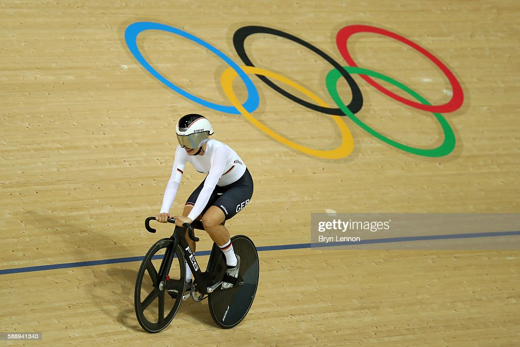 Miriam Welte and Kristina Vogel of Team Germany celebrates winning the bronze medal after the Women's Team Sprint final for bronze on Day 7 of the Rio 2016 Olympic Games at the Rio Olympic Velodrome on August 12, 2016 in Rio de Janeiro, Brazil.