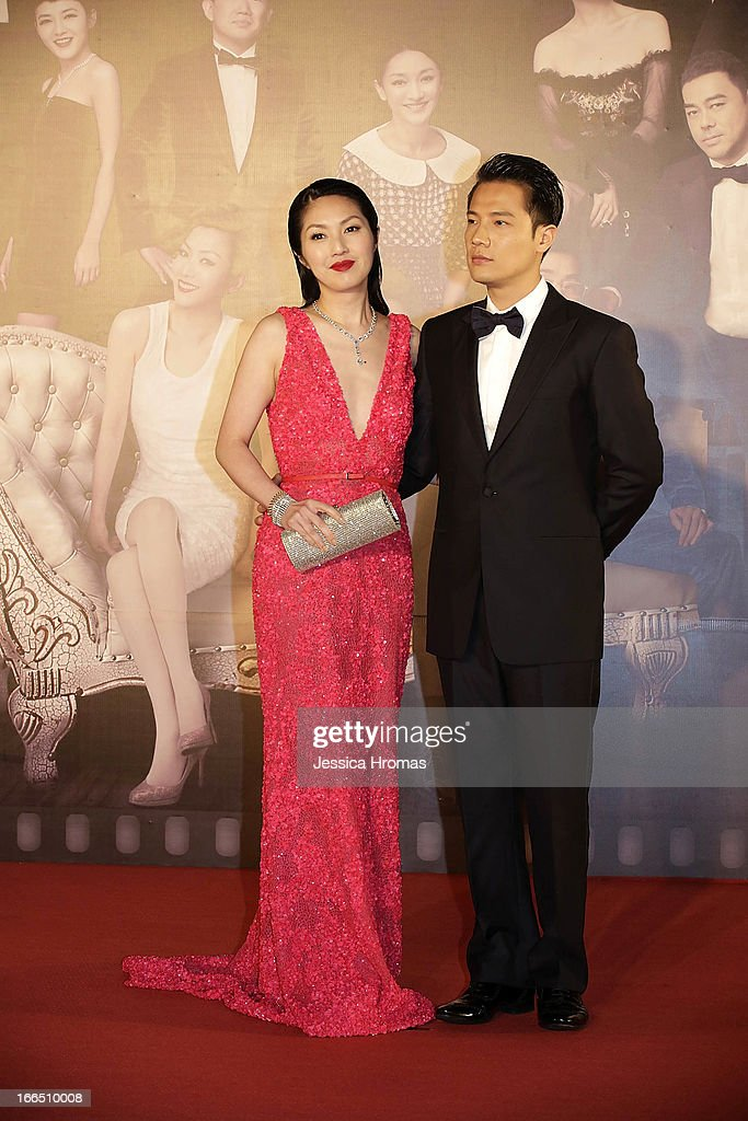 Miriam Yeung and her husband Real Ting on the red carpet at the 2013 Hong Kong Film Awards on April 13, 2013 in Hong Kong, Hong Kong.