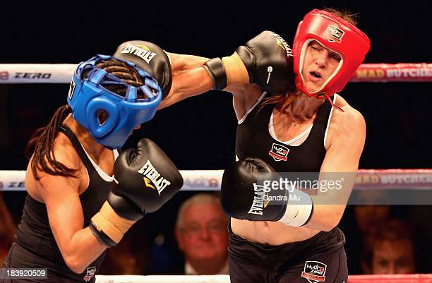 Miriama Smith punches Kaleena McNabb during the under card fight ahead of the Joesph Parker and Afa Tatupu New Zealand National Boxing Federation...