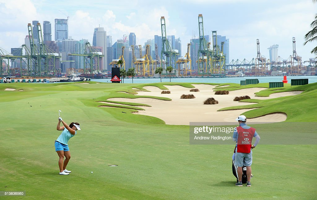 Mirim Lee of South Korea plays her second shot on the fifth hole during the third round of the HSBC Women's Champions at Sentosa Golf Club on March 5...