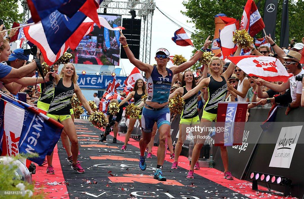 Mirinda Carfrae of Australia celebrates winning the women's race of Ironman Austria on June 26, 2016 in Klagenfurt, Austria.