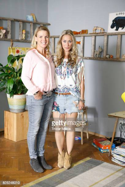 Mirja Boes and Sina Tkotsch during the set visit of the new RTL series 'Beste Schwestern' on August 1 2017 in Huerth Germany