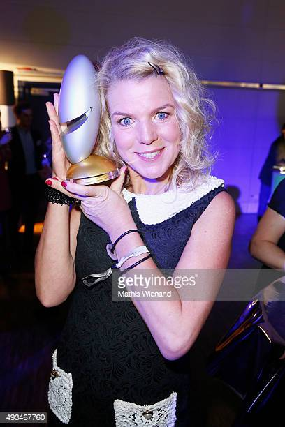 Mirja Boes poses with her award at the 19th Annual German Comedy Awards after show party at Coloneum on October 20 2015 in Cologne Germany