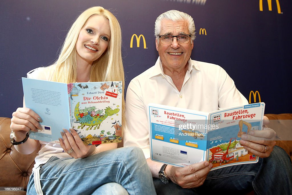 Mirja du Mont and Sky Du Mont attend McDonald's Reading Event at McDonalds Kurfuersten Damm on May 8, 2013 in Berlin, Germany.