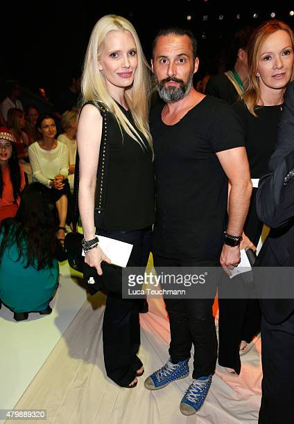 Mirja du Mont and Tobias Bojko attend the Minx by Eva Lutz show during the MercedesBenz Fashion Week Berlin Spring/Summer 2016 at Brandenburg Gate on...