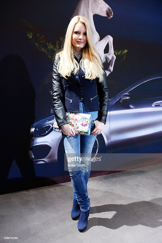 Mirja du Mont (model, actor) attends Mercedes-Benz Fashion Week Autumn/Winter 2013/14 at the Brandenburg Gate on January 16, 2013 in Berlin, Germany.