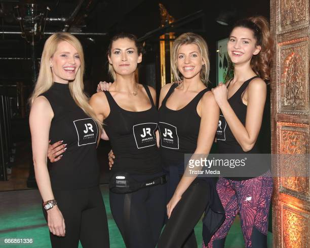 Mirja du Mont Fiona Erdmann Sarah Nowak and Fata Hasanovic attend the JOHN REED Fitness Music Club Opening on April 10 2017 in Hamburg Germany