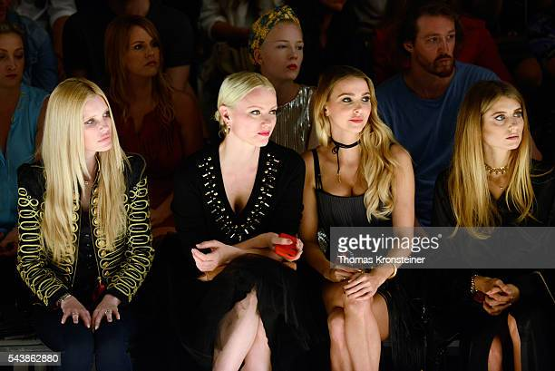 Mirja du Mont Franziska Knuppe Sophie Hermann and Cathy Hummels attend the Dimitri show during the MercedesBenz Fashion Week Berlin Spring/Summer...