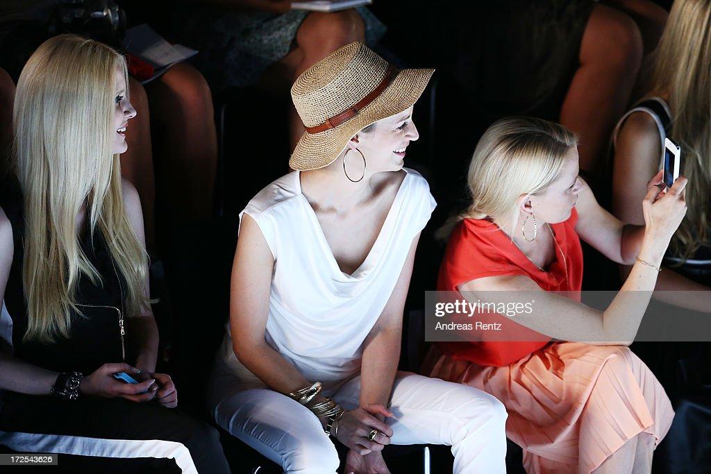Mirja du Mont, Tina Bordihn and Nova Meierhenrich attend Minx By Eva Lutz show during Mercedes-Benz Fashion Week Spring/Summer 2014 at Brandenburg Gate on July 3, 2013 in Berlin, Germany.