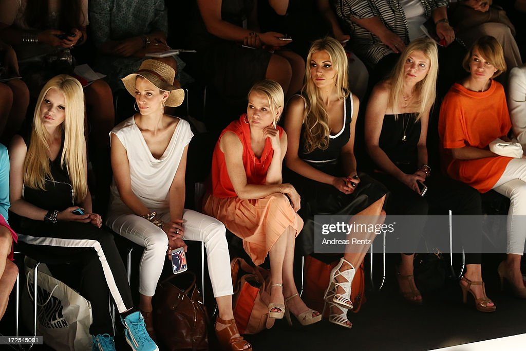 Mirja du Mont, Tina Bordihn, Nova Meierhenrich and Rosanna Davison attend the Minx By Eva Lutz show during Mercedes-Benz Fashion Week Spring/Summer 2014 at Brandenburg Gate on July 3, 2013 in Berlin, Germany.