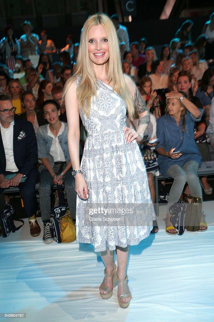 Mirja Du Mont wearing a dress by Lena Hoschek during the Lena Hoschek show during the Mercedes-Benz Fashion Week Berlin Spring/Summer 2017 at Erika Hess Eisstadion on June 30, 2016 in Berlin, Germany.