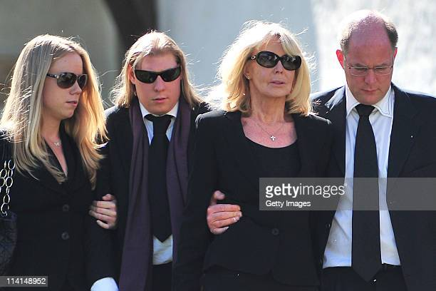 Mirja Larson wife of defunct Gunter Sachs and his sons Halifax and Christian Sachs attend Gunter Sachs' funeral service held at Mauritiuskirche on...