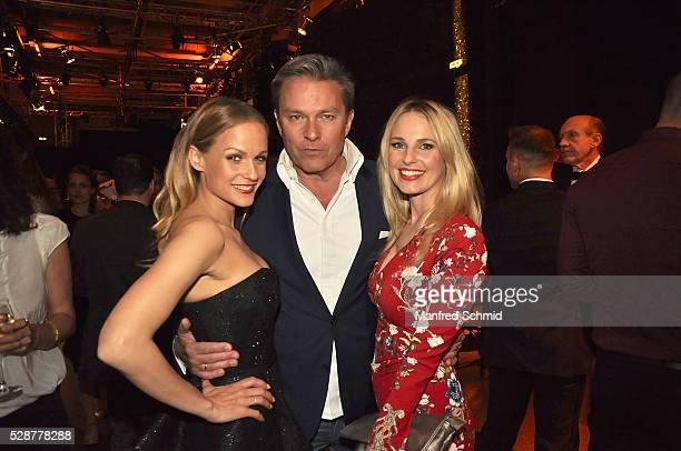 Mirjam Weichselbraun Alfons Haider and Silvia Schneider pose during the 'Dancing Stars' finals in Vienna at ORF Zentrum on May 6 2016 in Vienna...