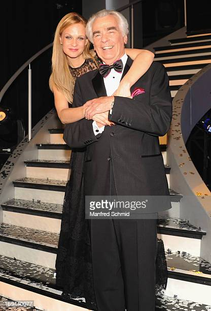 Mirjam Weichselbraun and Hannes Nedbal pose for a photograph during the final of the TV Show 'Dancing Stars' at ORF Zentrum Wien on May 24 2013 in...