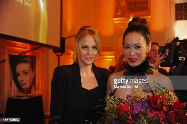Mirjam Weichselbraun and Miriam Hie attend the Romy 2014 Academy Awards at Hofburg Vienna on April 24 2014 in Vienna Austria