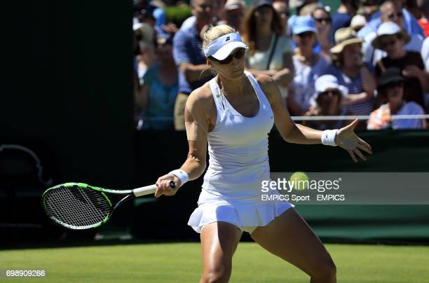 Mirjana LucicBaroni in action against Yaroslava Shvedova in the First round women's singles during day two of the Wimbledon Championships at the All...