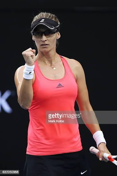 Mirjana LucicBaroni of Croatia celebrates in her second round match against Agnieszka Radwanska of Poland on day four of the 2017 Australian Open at...